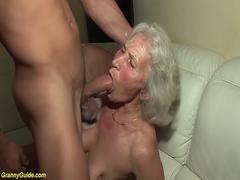 Grannies mounth rough titfuck