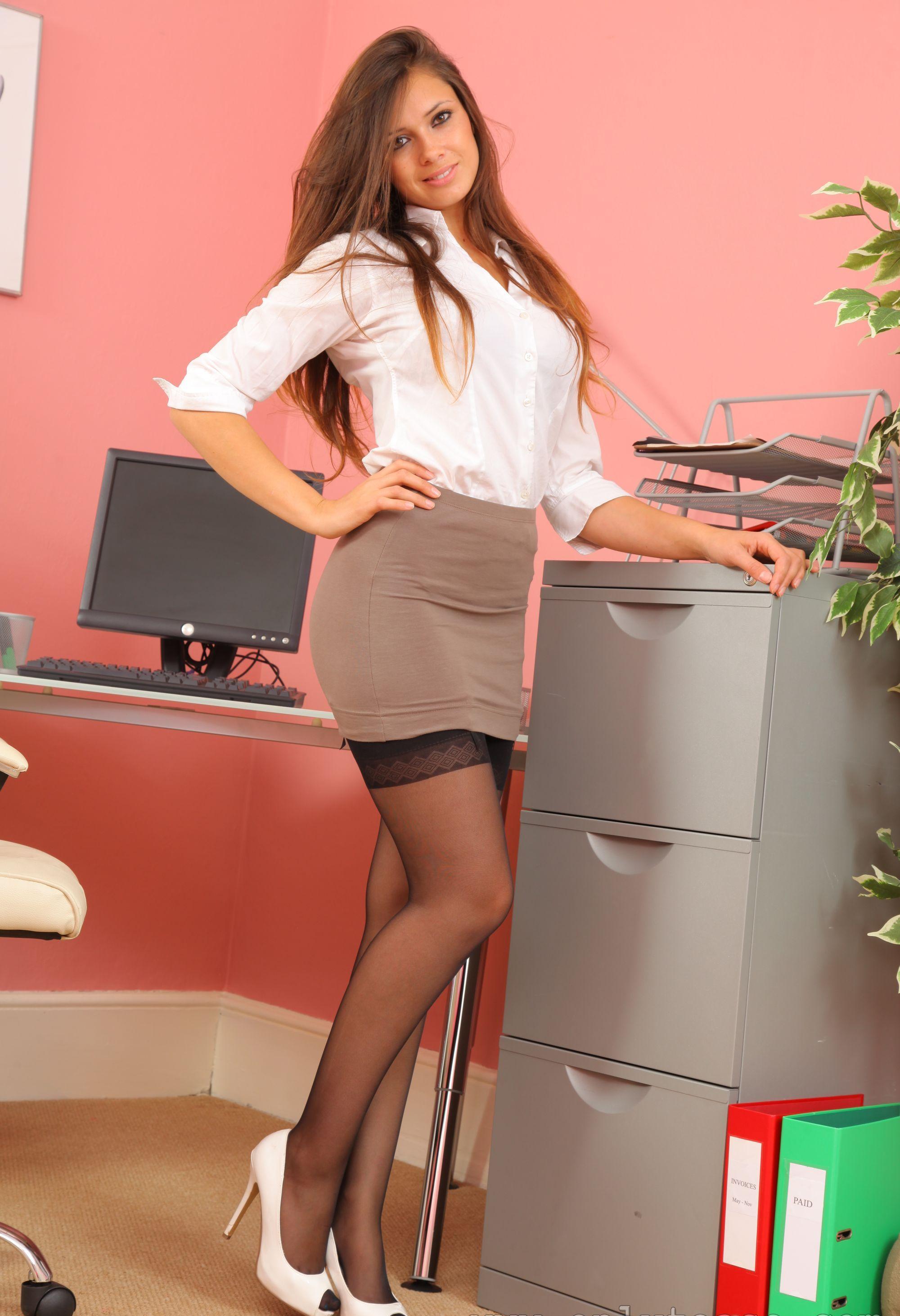 curvy maid Secretary blonde