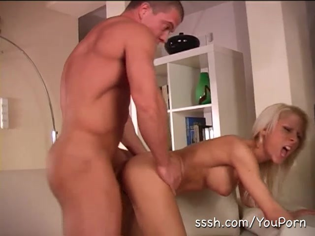 blonde otngagged bending Housewife