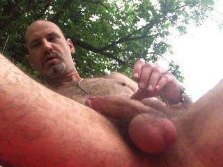 Beauty outdoor wanking chubby