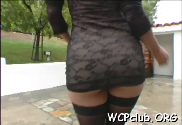 Maid brunette curvy shemale