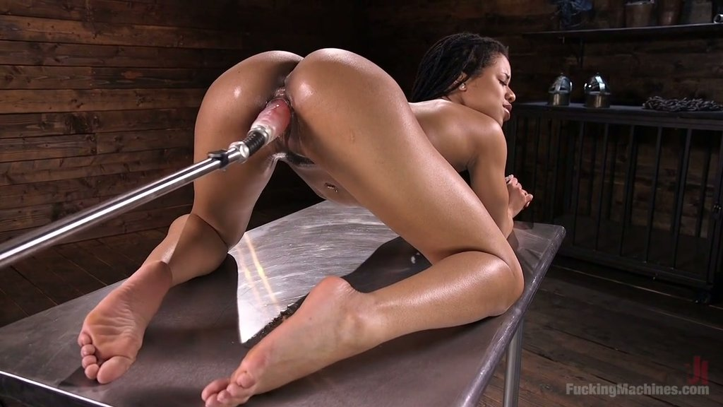 miniskirt Ebony fucking machines