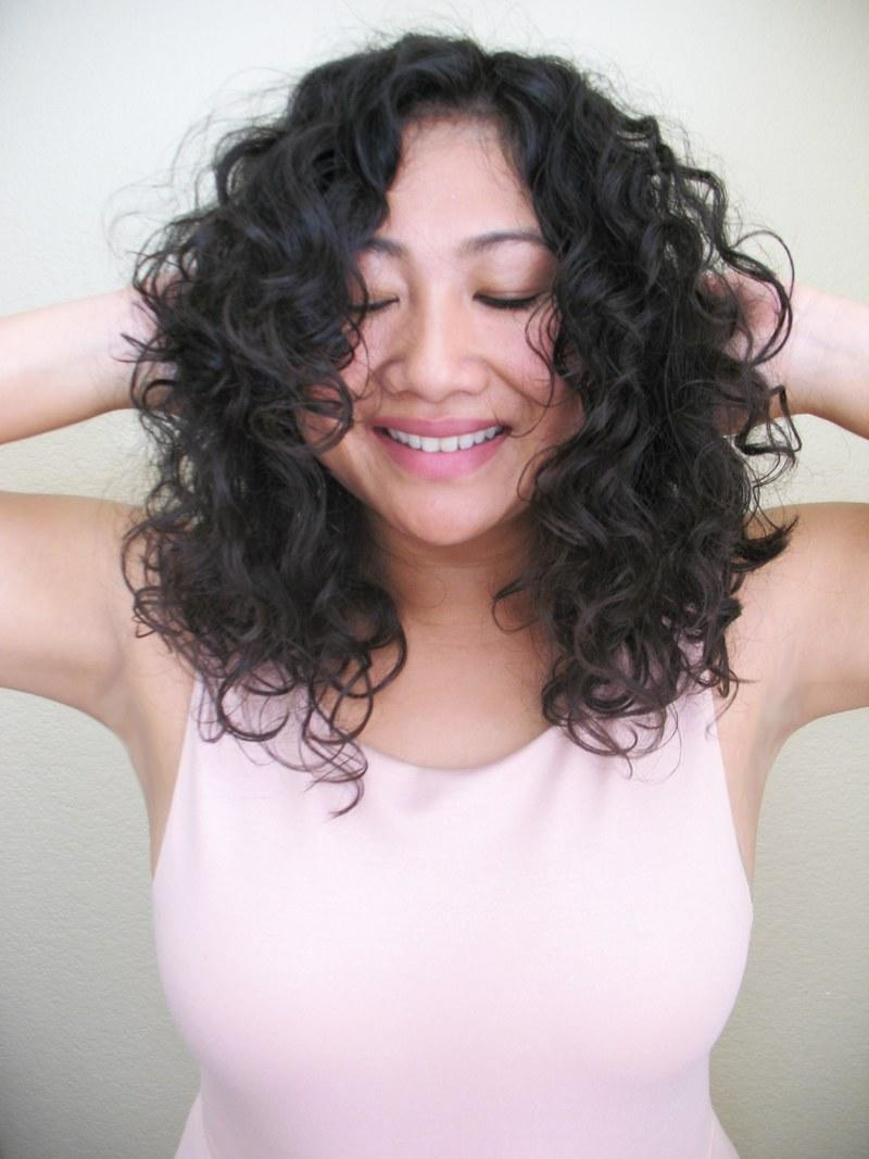 Asian curly shower long hair