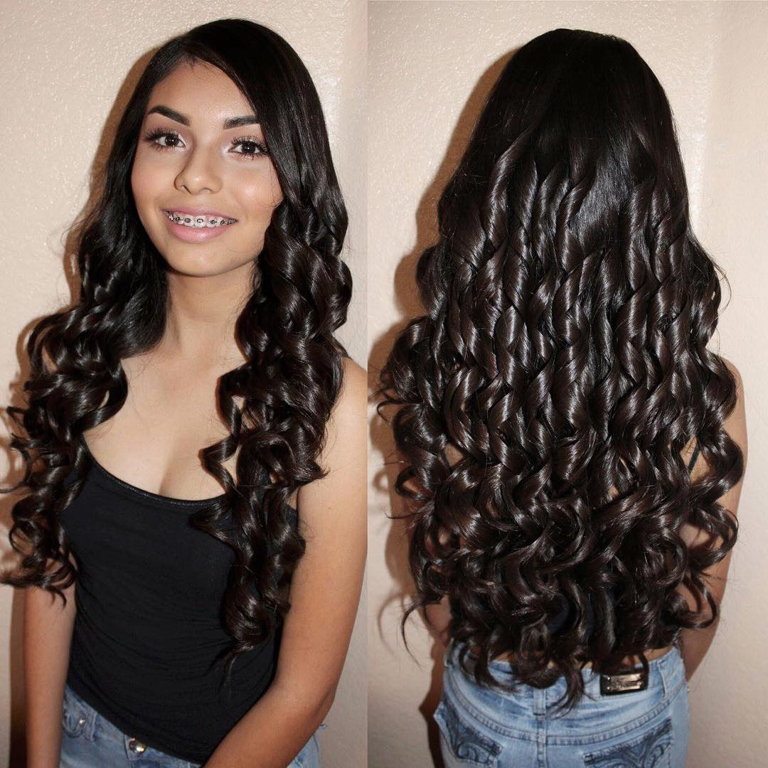 sissy hair Curly brunette long