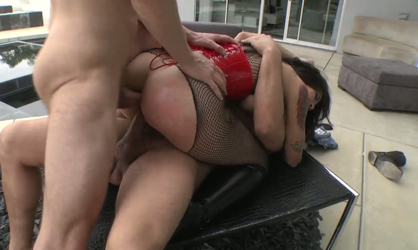 model Double blowjob fishnet spank