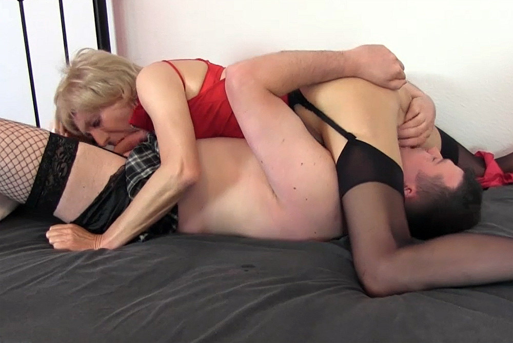 double blowjob gagging Lingerie sissy