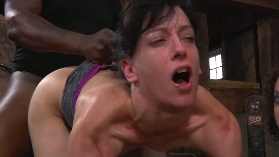 Mom gagging dyke spank