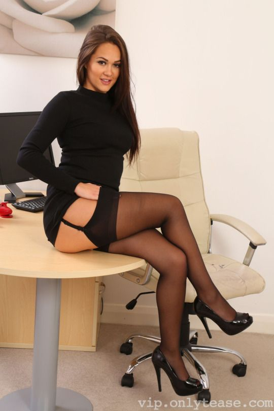 time petite brunette Stockings first